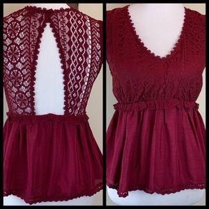 MAROON FOREVER 21 LACE TOP
